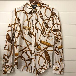 Ralph Lauren equestrian horse brown gold shirt Med